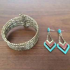 Turquoise Coral gold earring and bracelet set